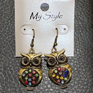 Owl Earrings with Multi Color Rhinestones NWT